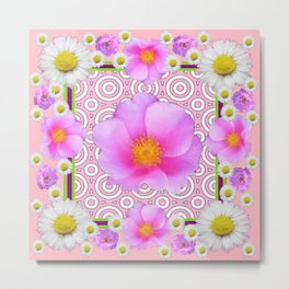 Pink on Pink Rose & Shasta Daisies Floral Abstract Metal Print