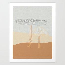Two Stitched Mushrooms Art Print