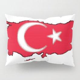 Turkey Map with Turkish Flag Pillow Sham