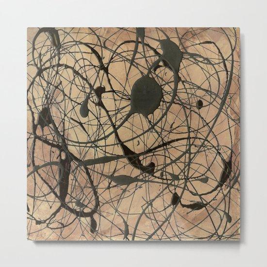 Pollock Inspired Abstract Black On Beige Metal Print