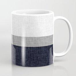 Navy Blue and Grey Simple Stripe with Crosshatch Burlap Print Pattern Coffee Mug