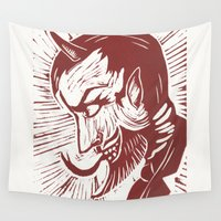devil Wall Tapestries featuring Handsome Devil by Little Bunny Sunshine