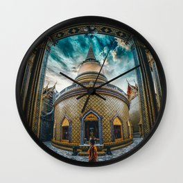Yellow Gold Decorated Temple Wall Clock