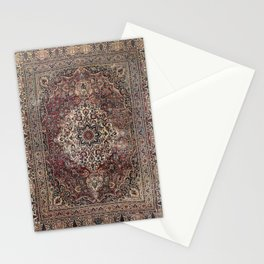 Antique Persia Doroksh Old Century Authentic Dusty Dull Blue Gray Green Vintage Rug Pattern Stationery Cards