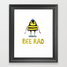 Bee. bee art, bee illustration, nature, illustration, wall, kids, skater, skateboarding, rad, Framed Art Print