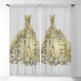 Grey & Gold Leaf Botanical Dress Blackout Curtain