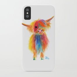 Scottish Highland Cow ' ANGEL ' by Shirley MacArthur iPhone Case