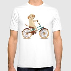 Puppy on the bike Mens Fitted Tee White MEDIUM