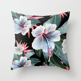 Tropical banana leaf, hibiscus vintage style, Hawaiian decor, retro Throw Pillow