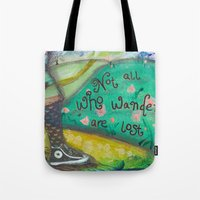 not all who wander Tote Bags featuring Wander by Aimée Wheaton Mixed Media Art & Design