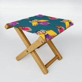 Angels and Corazones (flaming hearts) Folding Stool