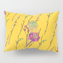 oriental flower stripe yellow Pillow Sham