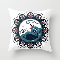 the whale Throw Pillows featuring whale by gazonula
