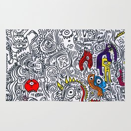 Pattern Doddle Hand Drawn  Black and White Colors Street Art Rug