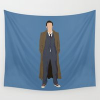 david tennant Wall Tapestries featuring David Tennant as Dr Who by liamgrantfoto