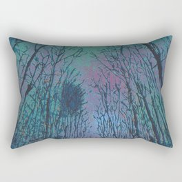 Camp Vibes Screenprint of Tent Under the Stars Rectangular Pillow