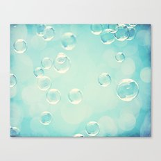 Bubble Photography, Laundry Room Soap Bubbles, Aqua Teal Bathroom Photography Canvas Print