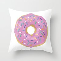 donut Throw Pillows featuring Donut by Sian Murray Art