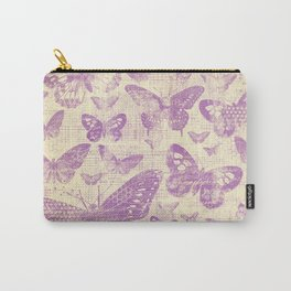 purple, vintage, butterflies, parchment Carry-All Pouch