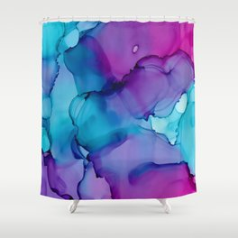 Alcohol Ink - Wild Plum & Teal Shower Curtain
