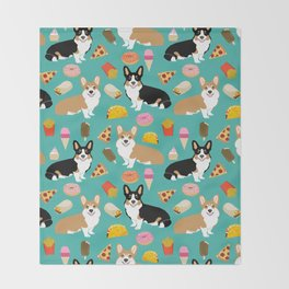 Welsh Corgi junk food fast food tacos french fries pizza burrito ice cream donuts Throw Blanket