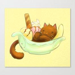 Banana split Cat Canvas Print
