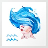 aquarius Art Prints featuring Aquarius by Aloke Design