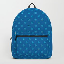Brick People Faces in Blue Backpack