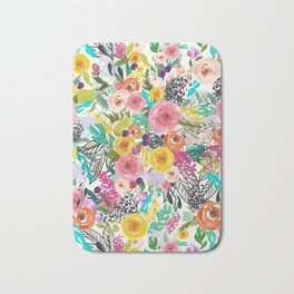 Vibrant Autumn Floral with Turquoise Bath Mat