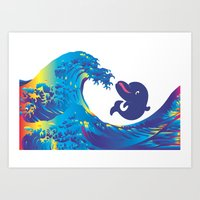 hokusai Art Prints featuring Hokusai Rainbow & Babydolphin by FACTORIE