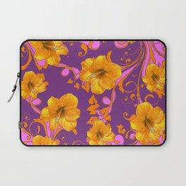 TROPICAL YELLOW & GOLD AMARYLLIS FLOWERS PATTERN Laptop Sleeve