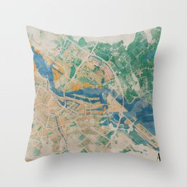 Amsterdam, the watercolor beauty Throw Pillow