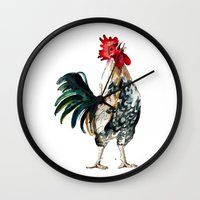 rooster Wall Clocks featuring Rooster by Bridget Davidson