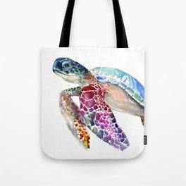 Sea Turtle, swimming turtle art, purple blue design animal art Tote Bag