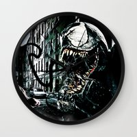 venom Wall Clocks featuring Venom  by D77 The DigArtisT