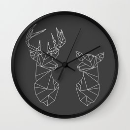 Geometric Stag and Doe (White on Grey) Wall Clock