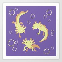 Relaxolotl - Lilac Art Print