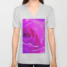Pretty Round Pink and Purple Rose on Blue Painting Unisex V-Neck