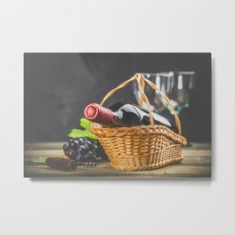Wine composition on dark rustic background Metal Print