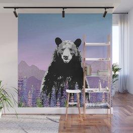 Black Bear in Lupine Wall Mural
