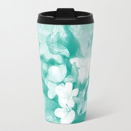 Butterflies and tropical flowers in stunning teal Travel Mug
