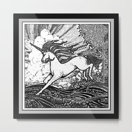 Mystic Running Unicorn In Meadow B&W Drawing Metal Print