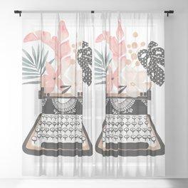 Floral Typewriter Sheer Curtain