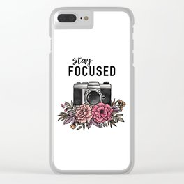 Stay Focused Camera Flowers Clear iPhone Case