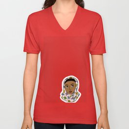 girl in red Unisex V-Neck