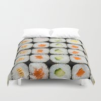 sushi Duvet Covers featuring Sushi by Katieb1013