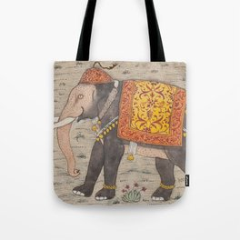 Vintage Decorated Elephant Painting (17th Century) Tote Bag