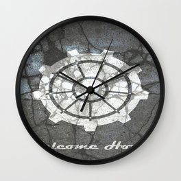 Fallout inspired welcome home, vault door, print, poster, wall art, neutral Wall Clock