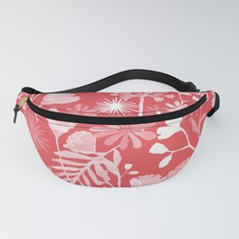 Red and pinkish white tropical floral Fanny Pack