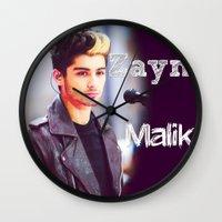 zayn malik Wall Clocks featuring Zayn Malik by Marianna